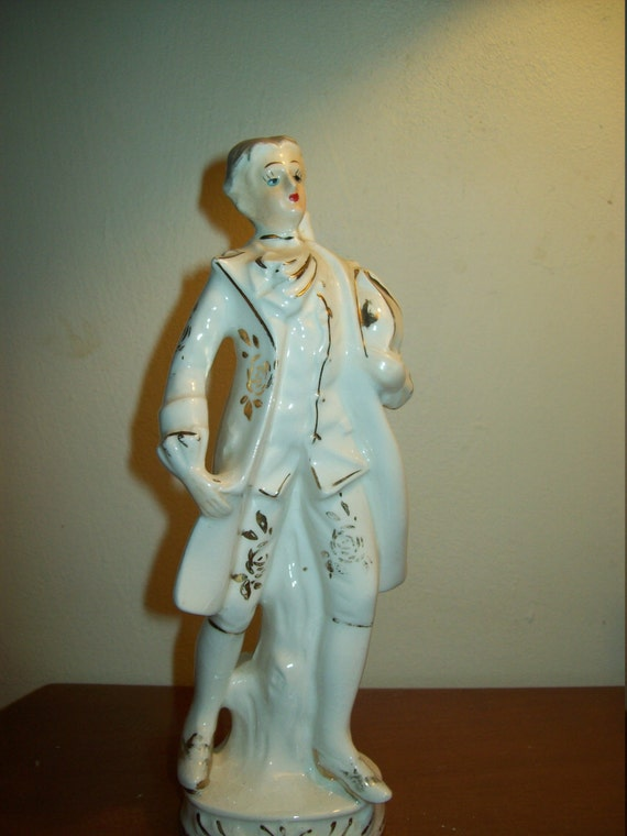 Victorian Man Figurine, Figurine made in Japan, gold trimmed male figurine, home decor, gift idea, vintage figure, 1950's figure,  Porcelain