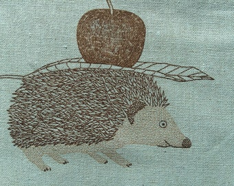 Hedgehogs with Apples light blue with brown Japanese cotton linen canvas B3