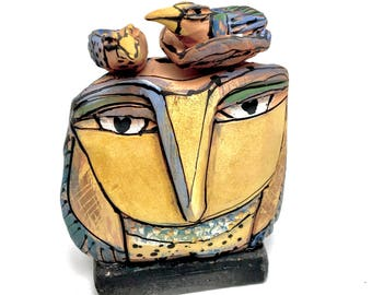 "Owl art, handmade one of a kind ceramic owl art,""Owl Mother and Child. Springtime!"", 4.5"" tall"