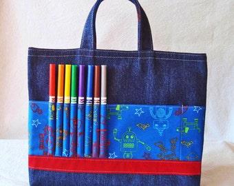 Crayon Tote • Crayon Bag • Coloring Bag • Art Tote • Crayon Holder • Crayon Roll • Ring Bearer • Busy Bag • ARTOTE • I Am A Robot