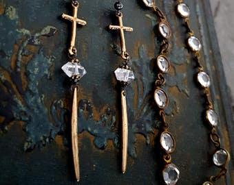 Gold Cross Herkimer Diamond Spike Earrings, Solid Bronze Earrings, Long Cross Crystal Spike Point Earrings, Rock Chic Rocker Edgy Jewelry