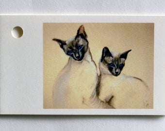 Two Siamese Cats Cat Art Gift Tags By Cori Solomon
