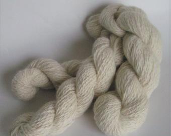 Yarn Handspun Angora Alpaca 50 50 Approx Worsted Hand Spun Yarn Natural Cream Undyed