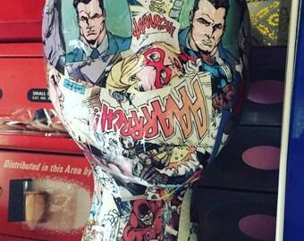 Mannequin Head Comic Book Industrial Display Mixed Media