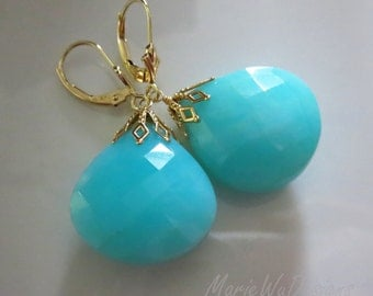 33ct Peruvian Blue Opal-14k Solid Gold Leverback Earrings