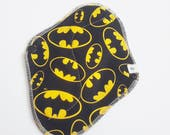Cloth Mama Pad / Reusable Cloth Pad - Regular Flow  - Batman Printed Cotton 8 Inch FREE Shipping