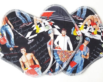 Cloth Mama Pads Pantyliners 8 inch - Men Doing Chores Print FREE Shipping Set of 3