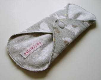 "9"" Cotton Flannel Regular Cloth Menstrual Pad, Bunny Rabbit Mama Baby Grey White Washable Reusable Pad, Incontinence Pad Reusable Sanpro CSP"