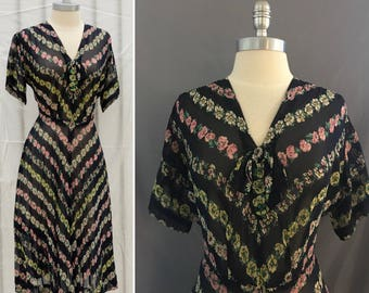 Vintage  1940's Navy Floral Sheer Day Dress with Bow