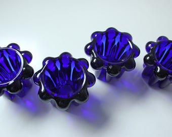 4 Vintage French cobalt blue glass candle holders