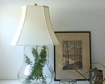 Vintage bubble glass table lamp base - pear shaped glass lamp