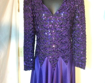 80s Purple Formal  Dress Purple Dress Size 8 Circle Skirt SEQUINS! Made in the USA