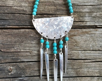 Turquoise leather tribal fork tine pendant