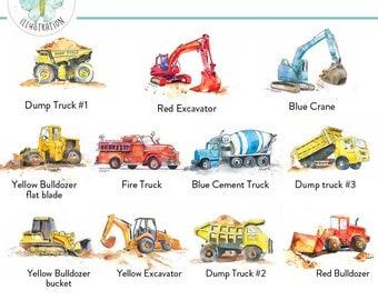 Cute Truck Prints - Boys Truck Art Prints - Construction Nursery Art - Digger Dozer Dumper Prints - Set of 3 - choose your own