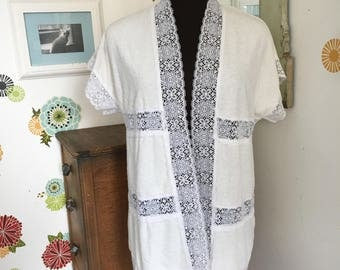 Vintage Cover Up Pool Robe, Terrycloth Robe, White Lace Jacket