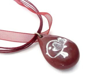 Necklace Red Bird, Polymer Clay Pendant, Bird Red Pendant, Red Pendant White, Polymer Necklace Bird, Red Polymer Necklace, Bird Necklace