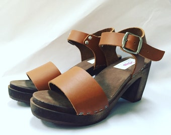New Wide strap sandal in Honey Oiled w/ buckled ankle strap Super High heel