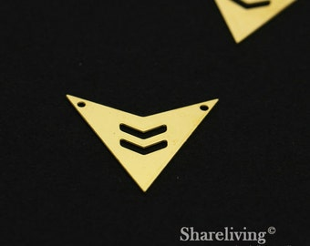 Exclusive - 6pcs Raw Brass Geometry Chevron Charm / Pendant,  Fit For Necklace, Earring, Brooch  - TG334