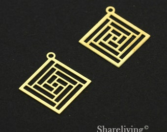 Exclusive - 6pcs Raw Brass Geometric Diamond Charm / Pendant,  Fit For Necklace, Earring, Brooch  - TG340