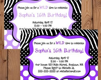 Purple Zebra Invitation - Zebra Birthday Invitation - Digital Zebra Invitation - Printable Zebra Invite - Zebra Birthday Party - Zebra Party
