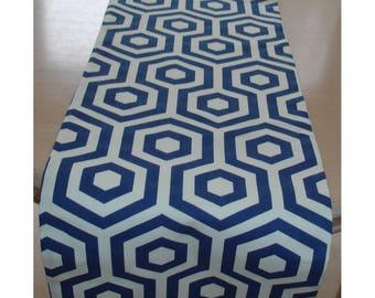 "72"" Table Runner 180cm Cobalt Blue Modern Geometric Hexagon NEW Navy 6ft Console Piano Topper Hex Hexagons"