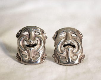 Drama Mask Cufflinks, Sterling Silver Mens Jewelry, Comedy / Tragedy Mask, Vintage Cuff Links, Theater Mask, Unisex Accessories, Fathers Day