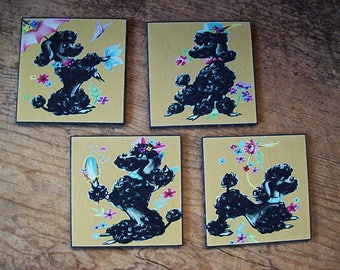 retro poodle coaster set vintage 1950's rockabilly bar decor kitsch