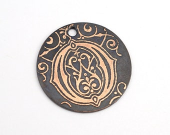 Handmade letter O charm, round flat etched copper initial focal point, 25mm