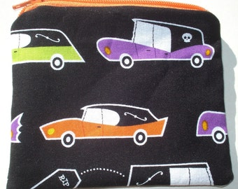 Hearses Coin Pouch: Eeerie Alley, Funeral, Halloween.