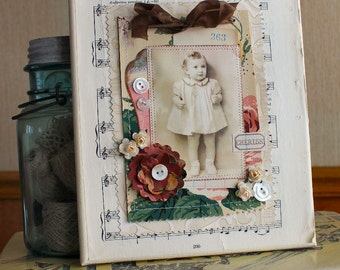 Country Rose  8 x 10 inch altered canvas with vintage wallpaper and embellishments