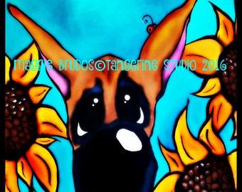 great dane big dog sunflower garden dog 12x12 maggie brudos painting ladybug Original whimsical art gift pet lover tangerinestudio