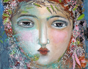 SALE  SPECIAL PRICE!! Free Shipping Mixed media Print art girl woman flowers in her hair ribbons feminine