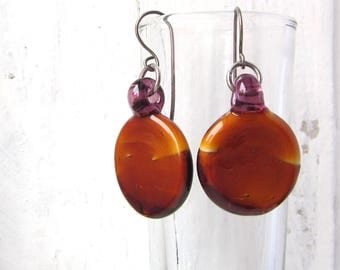 Brown and Purple Round Minimalist Glass Earrings