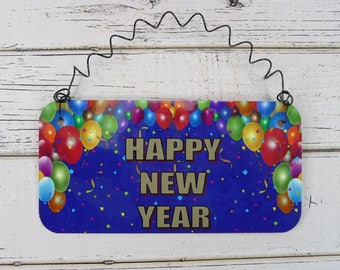 Sign HAPPY NEW YEAR  Home Decor Metal Sign Celebration Party - Door Table Wreath Decoration