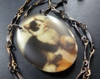 Feline Familliar ~ cat portrait art necklace ~ vintage brass and resin ~ rustic shabby kitten OOAK