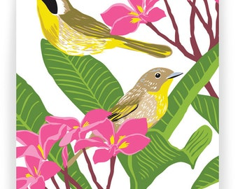 Common Yellowthroat and Plumeria: Box of 8 A2 folding blank cards