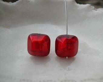 Red Murano Glass Beveled Square Bead Pair