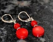 SALE Coral Earrings, Silver Earrings, Red Earrings, Lever Backs, Sterling Silver, Gemstone Earrings, Fashion Jewelry