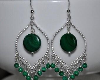 SALE Malachite earrings, Green Earrings, Dangle Earrings, Sterling silver, Malachite Stone, Malachite Jewelry, Gemstone Earrings