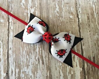 Ladybug Headband Ladybug Baby Headband Ladybug Bow Ladybug Tuxedo Bow Ladybug Toddler Bow Skinny Elastic Headband Infant Hair Bow