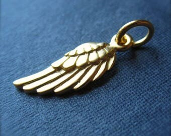 Small Angel Wing charm vermeil - gold plated over sterling silver and others