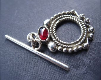 Toggle Clasp with Garnet - Solid Sterling Silver - genuine stone