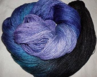 Hand dyed Tencel Yarn - 6/2 Tencel Lace Wt. Yarn  SAPPHIRES - 630 yards
