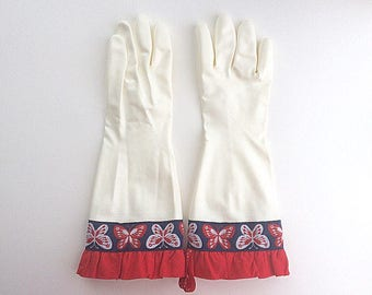 Designer Cleaning Gloves - Latex Free - Red Navy Butterfly Ruffle - Medium