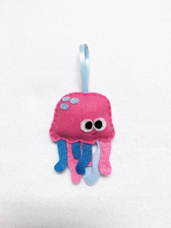 Ornament, Jelly Fish Ornament, Christmas Ornament, Leon the Pink Jellyfish - Made to Order, Ocean Animal, Felt Animal