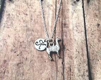 Llama initial necklace - llama jewelry, alpaca necklace, zoo animal jewelry, Peru necklace, alpaca jewelry, silver llama necklace