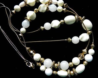 46 Inch Long Creamy White Bead Necklace, Stations of Glass beads, Summer Jewelry, Vintage Jewelry