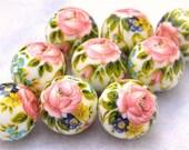 Wholesale Beautiful Japanese Tensha Beads PINK ROSE WHITE 12mm-9 pieces