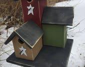 Primitive Country Condo Birdhouse Red Green Tan Three Nesting Boxes