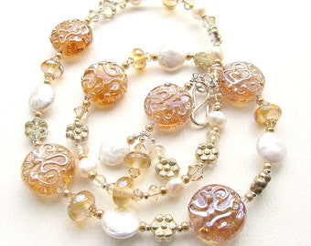 Fields of Gold, Lampwork Glass and Pearl Bead Necklace with Crystals and Silver, Wedding Jewelry, Bridal Necklace